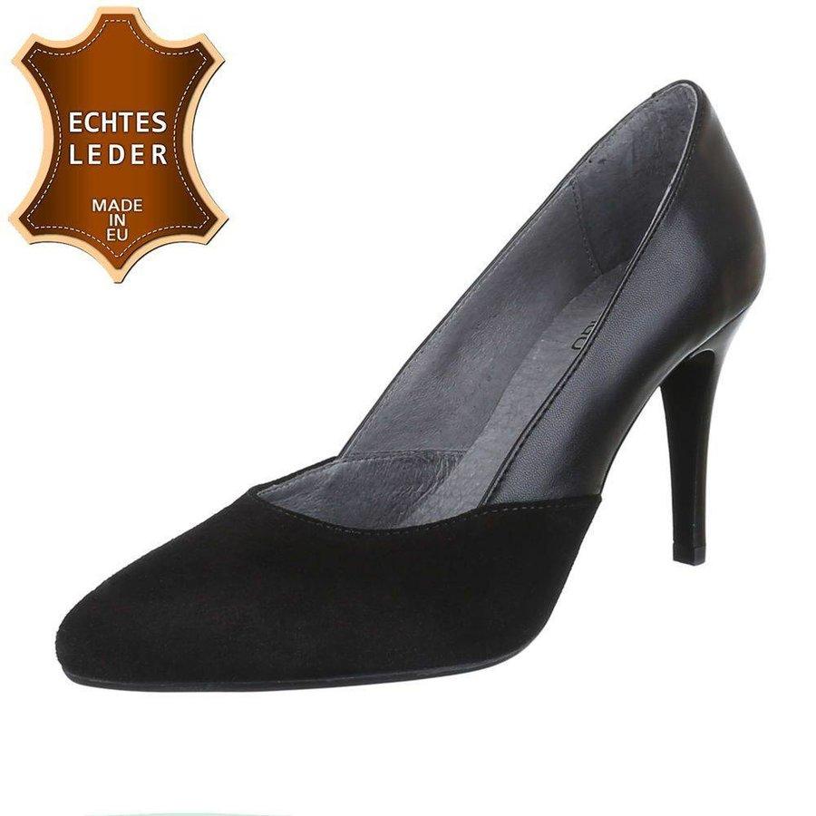 Damen Pump - schwarzes Leder