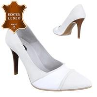 Damen Pumps - weißes Leder