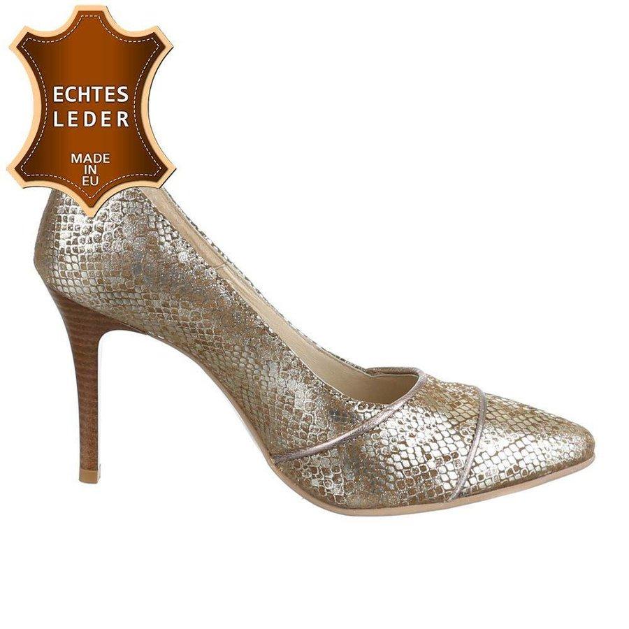 Damen Pumps - beige Leder