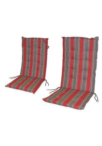 Neckermann Tuinkussen streep rood/grijs 117x49x6 cm