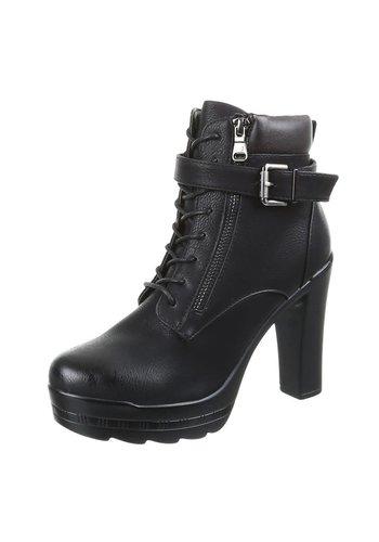 SDS Dames enkellaarzen-Zwart