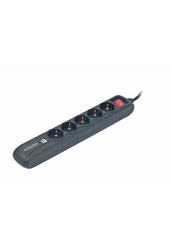Energenie Stekkerdoos met schakelaar 5 voudig 2X USB, 1.5 meter snoer zwart