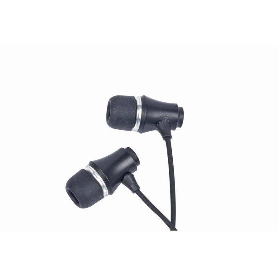 MP3-EP-01B MP3 Stereo-Kopfhörer, vergoldeter 3,5 mm Klinken-Anschluss, Metall, schwarz
