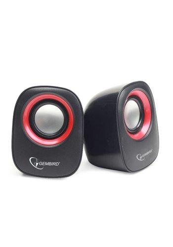 Gembird Speaker Set 2.0<br>Zwart/Rood