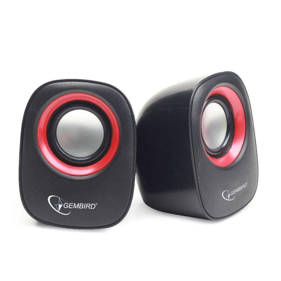 Stereo Lautsprecher, schwarz/rot