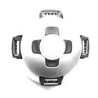 Semi-sphere USB 2.0 4 port hub with rotating ports and a built-in cable, blister packing