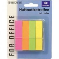 Haftnotizen 6cm 4x100 Blatt neonfarben mit Halter