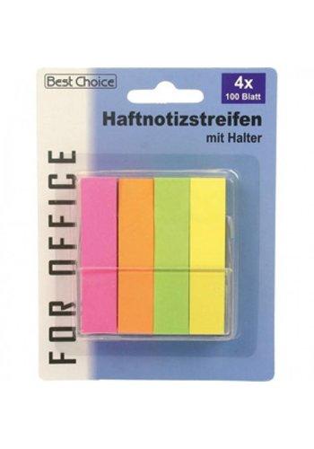 Best Choice Notitie stickers Neon Kleur 6CM 4x100 met Houder