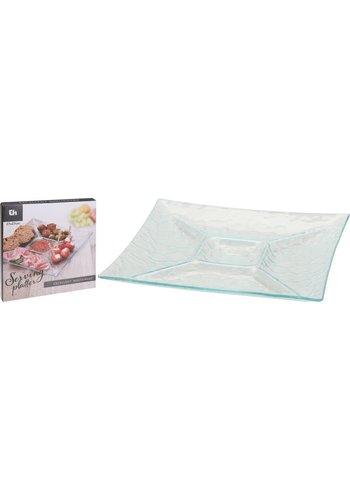 Excellent Houseware Glazen hapjesschaal vierkant 27 cm