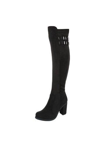 Markenlos Damen Overknee Stiefel - black