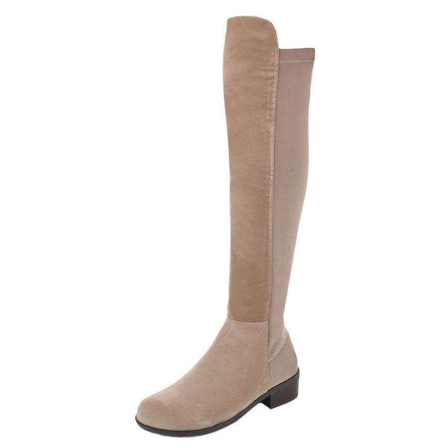 Damen Overknee Stiefel - khaki