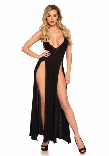 Leg Avenue Deep-V dual slit maxi dress