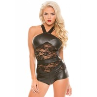 Sexy Wetlook and Lace Romper
