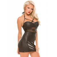 Sultry Wetlook and Mesh Dress