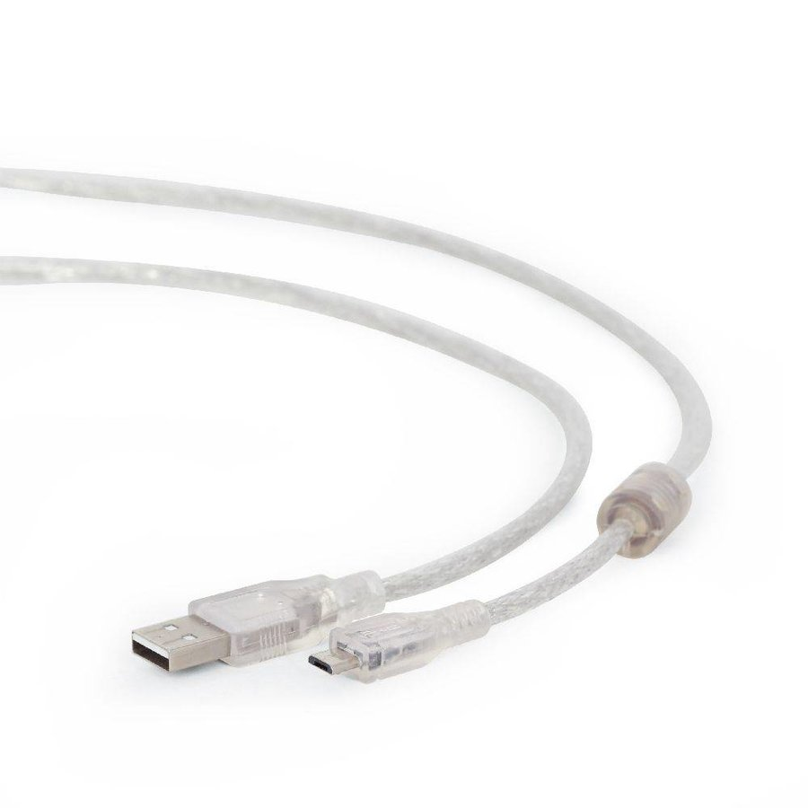 Micro-USB cable, 1.8 m, transparent jacket