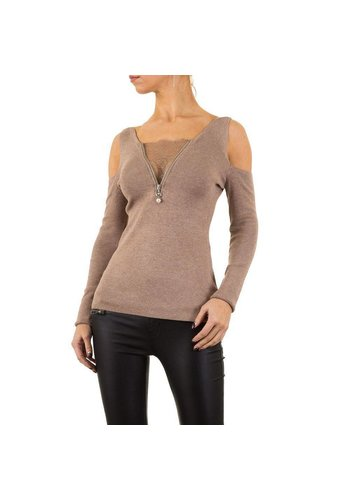 MOEWY Dames Sweater van Moewy Gr. one size - taupe