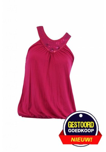 George Top met pailletjes fuchsia