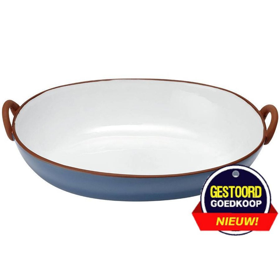 Tapas terracotta ovenschaal 40x25.5x10.5 cm  blauw