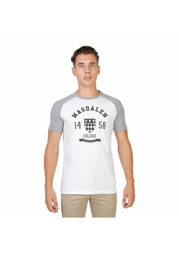 Oxford University Tee-shirt homme Oxford University MAGDALEN-RAGLAN-MM - blanc / gris