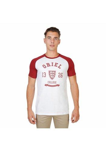 Oxford University T-shirt pour hommes de l'Université d'Oxford ORIEL-RAGLAN-MM - blanc / rouge