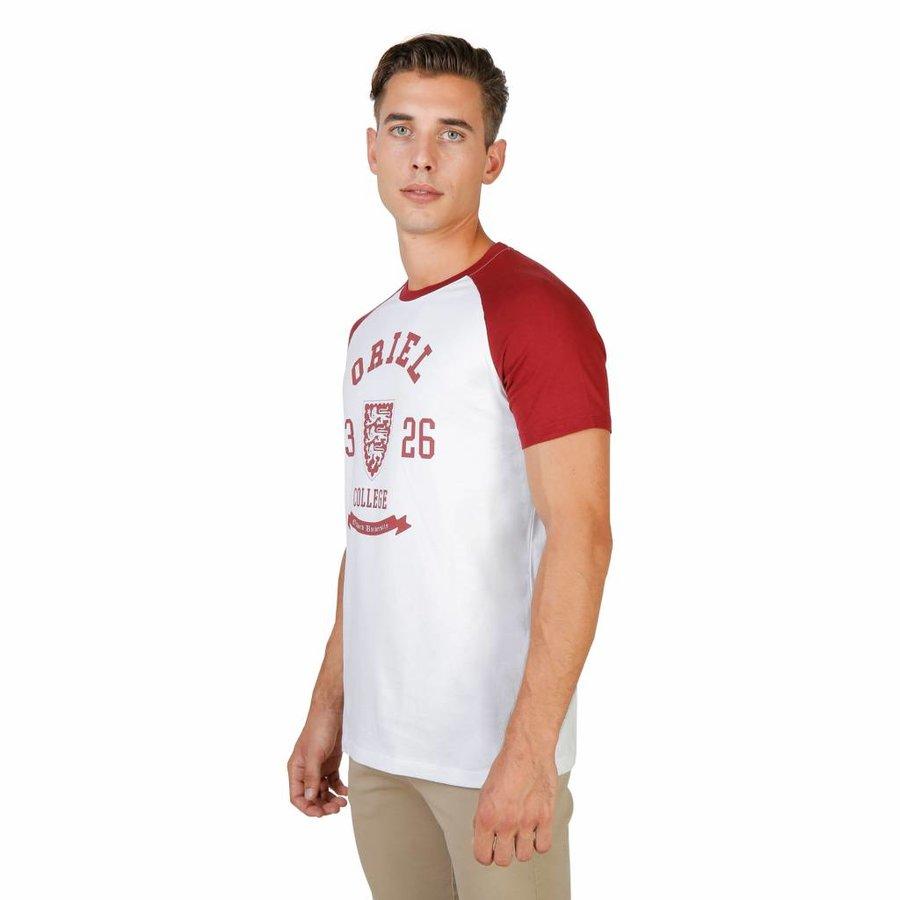 Männer T-Shirt von der Universität Oxford ORIEL-RAGLAN-MM - weiß / rot