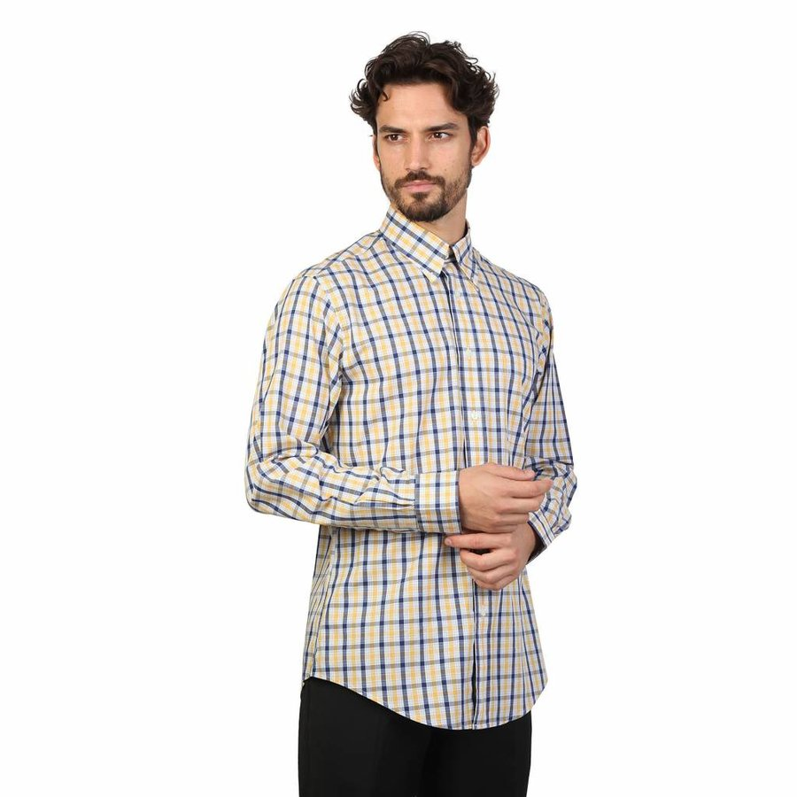 Herrenhemd von Brooks Brothers - blau / gelb