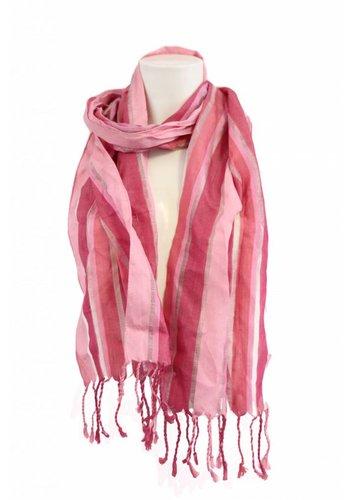 Ulla Popken Dames sjaal met roze strepen