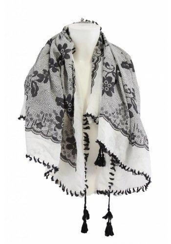 Bonprix collection Damen Schal schwarz und weiß mit Fransen