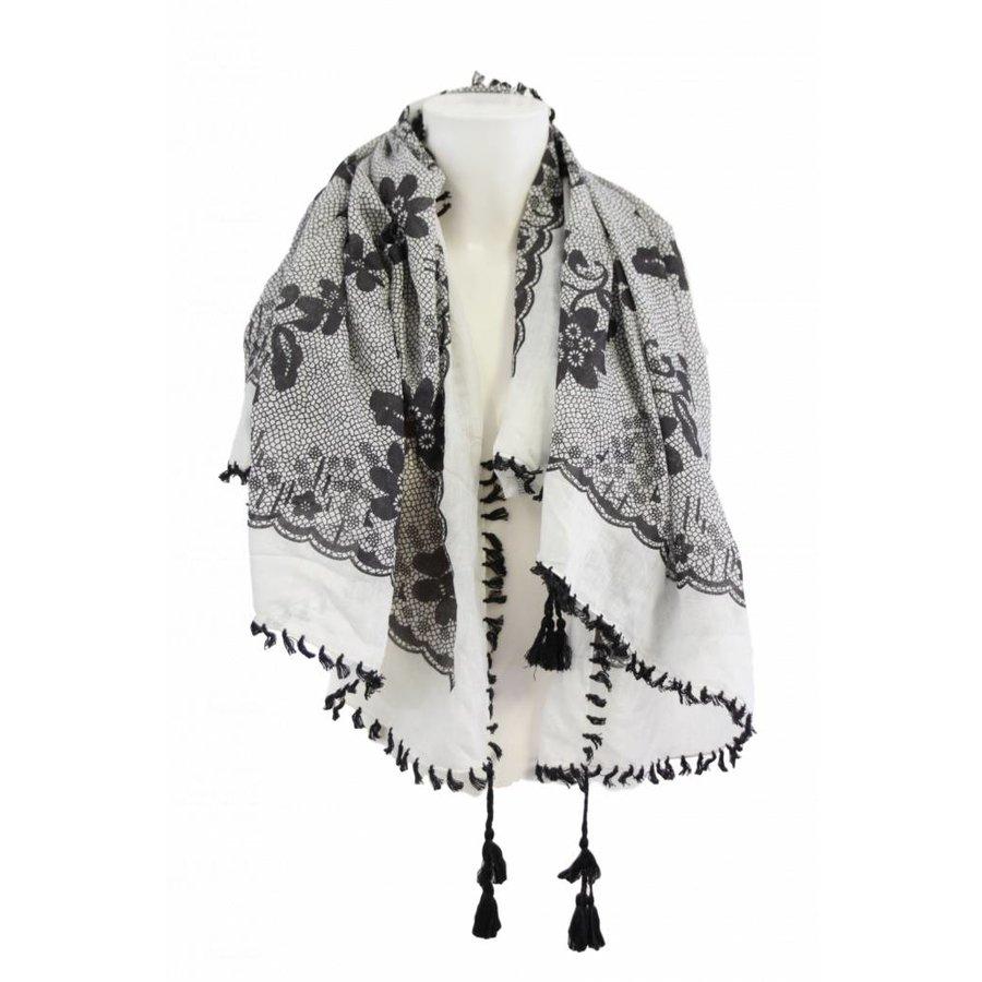 Damen Schal schwarz und weiß mit Fransen