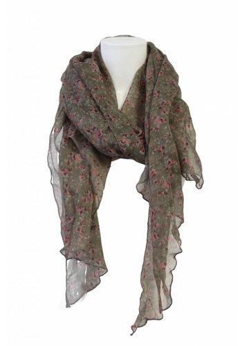 Cool Code Dames sjaal groen met roze bloemen