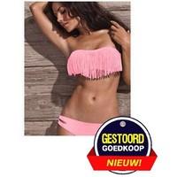 Bikini met franjes zalm-roze