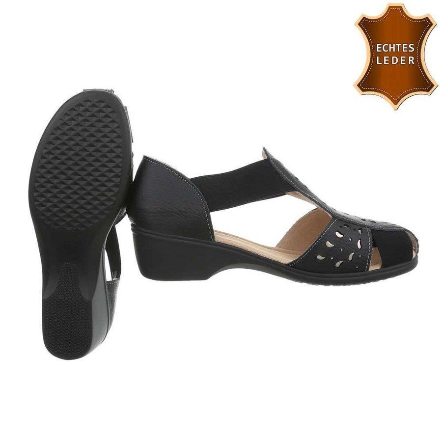 Damen Sandalen - schwarzes Leder