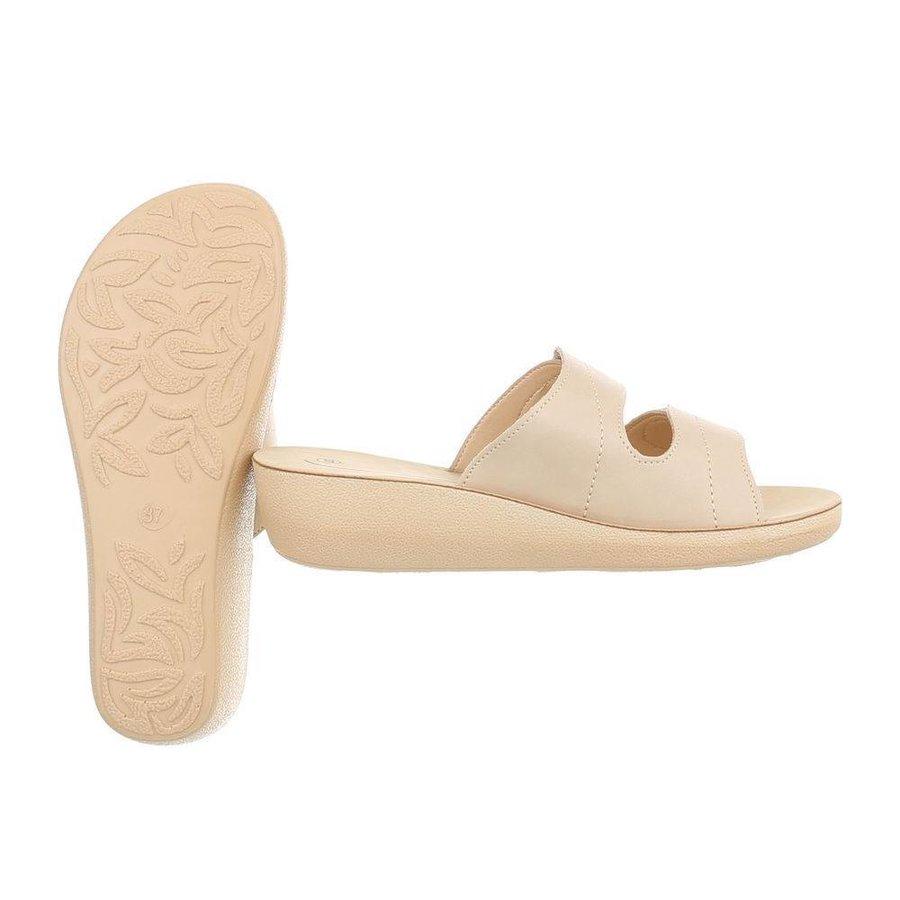 Damen Slipper mit Klettverschluss - beige