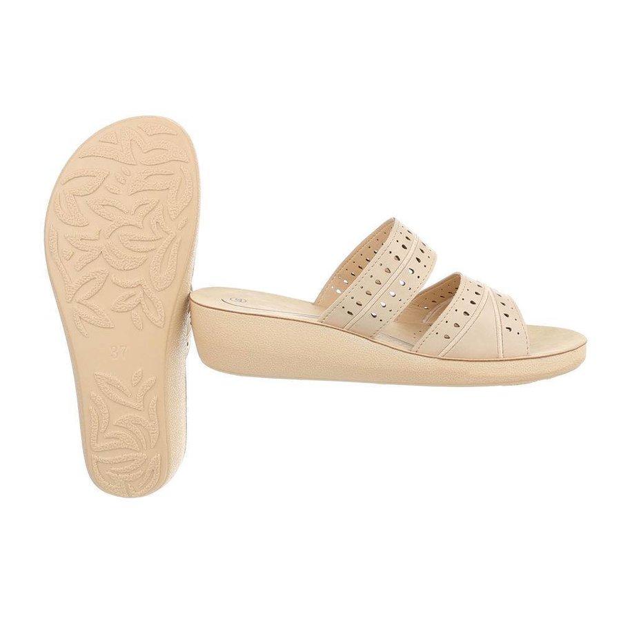 Damen Slipper mit ergonomischem Fußbett - beige