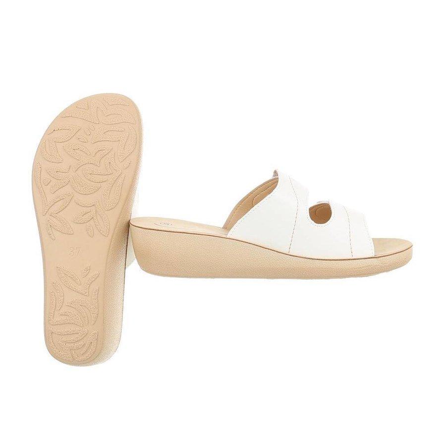 Damen Slipper mit Klettverschluss - weiß