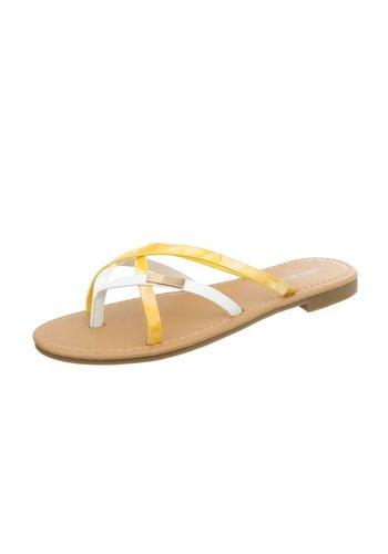 Neckermann Damen Slipper mit 6 Riemen - gelb