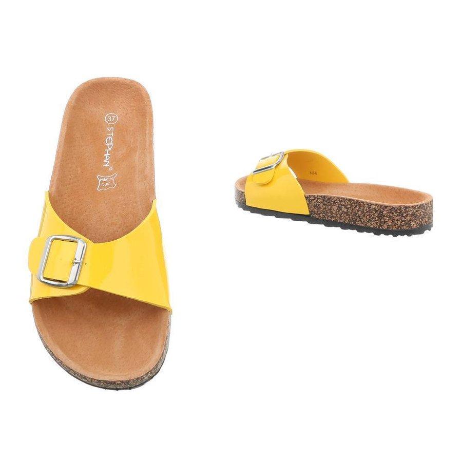 Damen Slipper mit verstellbarer Schnalle - gelb