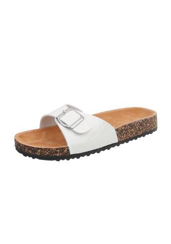 Neckermann Damen Slipper mit verstellbarer Schnalle - weiß
