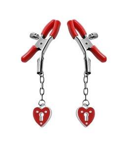 Master Series Tepelklem met hartvormige hangslotjes