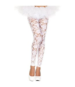 Music Legs Transparante Legging Met Bloemendesign - Wit