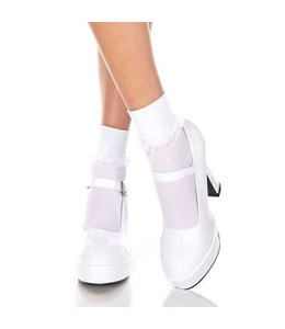 Music Legs Basic Kousjes Met Ruches - Wit