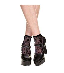 Music Legs Kanten Sokjes - Zwart
