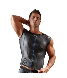Svenjoyment Underwear Shirt Met Lederlook En Lange Rits - Zwart
