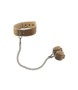 Ouch! Brown Ouch! Brown Halsband Met Handboeien