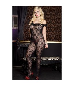 Music Legs Off-Shoulder Catsuit Met Open Kruis - Zwart