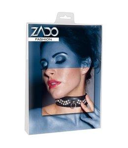 Zado Lederen Halsband Met Diamantjes - Zwart