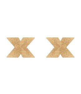 Bijoux Indiscrets Flash Cross Tepelstickers - Goud