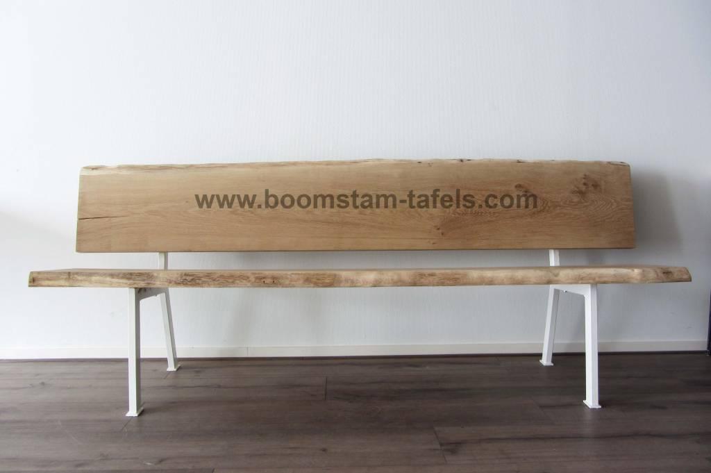 eetkamerbank met eiken hout en staal combinatie - Boomstam-tafels