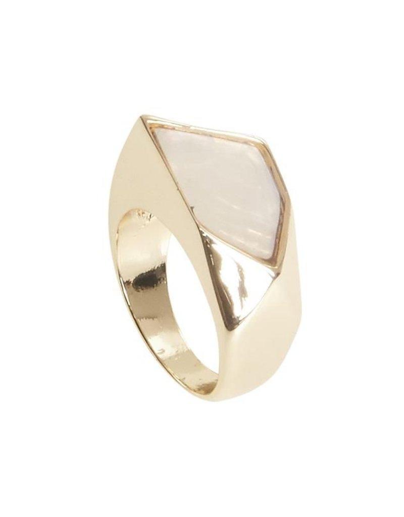 ICHI Ichi - White & Gold Statement Ring