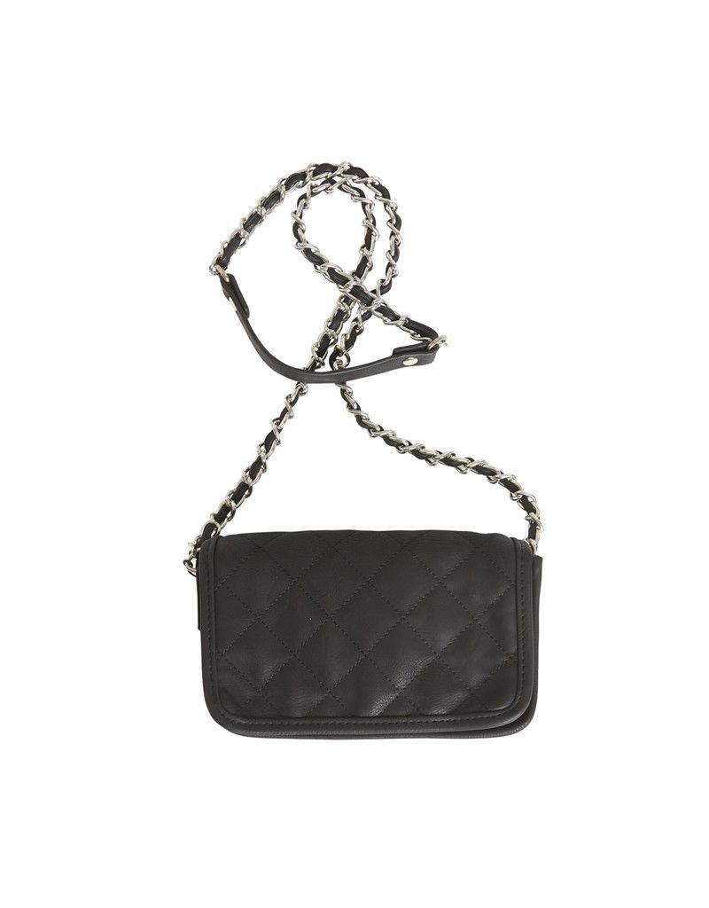 ICHI Ichi - A Barbette Shoulder BA - Cross body gold chain black bag with cross stitch